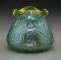 Art Glass:Loetz, Loetz-Style Green Iridescent Glass Quatrefoil Vase. Circa 1900. Ht.5-1/4 in.. ...