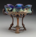 Art Glass:Loetz, Loetz-Style Iridescent Glass Bowl with Floral Copper Stand . Early20th century. 1976 incised to each leg. Ht. 5-1/2 in....