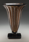 Art Glass:Daum, Large Daum Acid-Etched Deep Topaz Glass Footed Vase. Circa 1930.Engraved DAUM (Cross of Lorraine) NANCY, FRANCE.Ht...