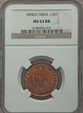 India:British India, India: British India. Victoria 1/4 Anna 1894-(C) MS63 Red and Brown NGC,...