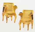 """Luxury Accessories:Accessories, Karl Lagerfeld Gold Chair Earrings with Black Crystals & Onyx .Excellent Condition . 1"""" Width x 1"""" Height .5""""Depth..."""