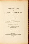 Books:Literature Pre-1900, [Poetry]. Oliver Goldsmith. Bolton Corney, editor. The PoeticalWorks of Oliver Goldsmith. London: Longman, Brown, G...