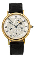 Timepieces:Wristwatch, Breguet Very Fine Gold Perpetual Calendar With Power Reserve Sector& Moon Phase. ...