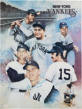 Autographs:Others, 1980's Mickey Mantle & Joe DiMaggio Signed Lithograph....