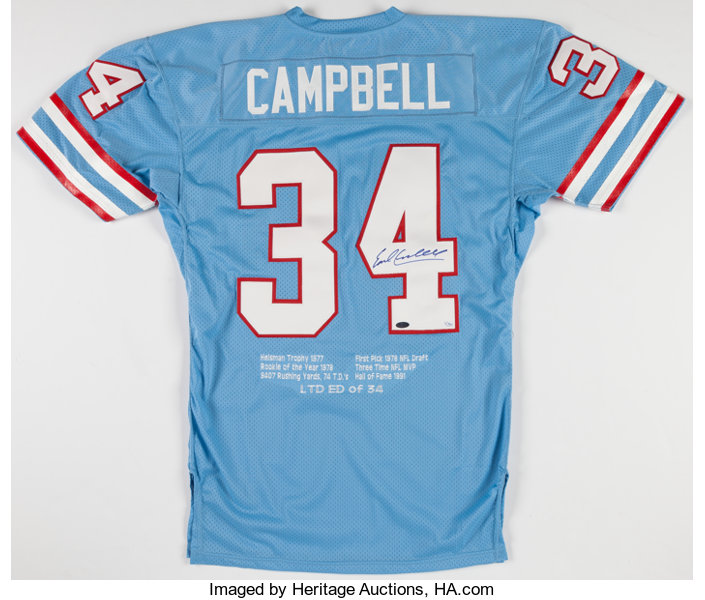 huge selection of fa39b 4ecea Earl Campbell Signed Houston Oilers Jersey.... Football ...