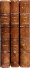 Books:Periodicals, [Bound Periodicals]. Three Bound Volumes of Journal des Demoiselles. Années 27, 29 and 43. 1869, 1871 and 1875. ... (Total: 3 Items)