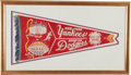 Baseball Collectibles:Others, 1955 New York Yankees vs. Brooklyn Dodgers World Series Pennant....
