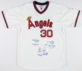 Baseball Collectibles:Uniforms, Nolan Ryan No Hitters Multi Signed California Angels Jersey (With Catchers)....