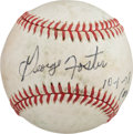 Baseball Collectibles:Balls, 1978 George Foster 40th Home Run Game Used Signed Baseball....