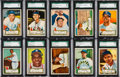 Baseball Cards:Lots, 1952 Topps Baseball Low Number SGC Graded Collection (10). ...