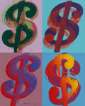 Prints, Andy Warhol (1928-1987). $ (Quadrant), 1982. Unique screenprint in colors on Lenox Museum Board. 39-3/4 x 31-7/8 inches ...