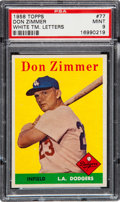 Baseball Cards:Singles (1950-1959), 1958 Topps Don Zimmer White Letters #77 PSA Mint 9. Pop Four, NoneHigher....