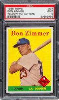 Baseball Cards:Singles (1950-1959), 1958 Topps Don Zimmer Yellow Letters #77 PSA Mint 9 - Pop One, NoneHigher!...