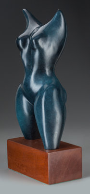 Elizabeth Catlett (American, 1915-2012) Torso Bronze with blue patina 13-1/4 inches (33.7 cm) hig