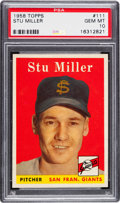 Baseball Cards:Singles (1950-1959), 1958 Topps Stu Miller #111 PSA Gem Mint 10 - Pop One!...