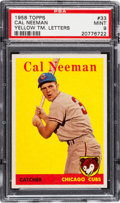 Baseball Cards:Singles (1950-1959), 1958 Topps Cal Neeman Yellow TM. Letters #33 PSA Mint 9 - Pop Two,None Higher!...