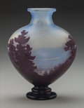 Art Glass:Galle, Gallé Overlay Glass Landscape Footed Vase. Circa 1900. Cameo Gallé. Ht. 8-3/8 in.. ...