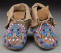 American Indian Art:Beadwork and Quillwork, A Pair of Nez Perce Beaded Hide Moccasins. c. 1900... (Total: 2 )