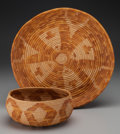 American Indian Art:Baskets, Two Mission Coiled Basketry Items. c. 1920... (Total: 2 Items)