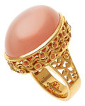 Estate Jewelry:Rings, Moonstone, Garnet, Gold Ring, Paula Crevoshay. ...