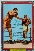Boxing Collectibles:Autographs, 1965 Joe Louis & Jersey Joe Walcott Signed Boxing Illustrated Poster. ...