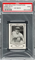 Baseball Cards:Singles (Pre-1930), 1926 Sports Co. of America Champions Babe Ruth PSA Mint 9 - Pop OneWith Ad Back. ...
