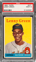 Baseball Cards:Singles (1950-1959), 1958 Topps Lenny Green #471 PSA Mint 9 - Pop Three, None Higher!...