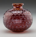 Art Glass:Lalique, R. Lalique Red Amber Glass Grenade Vase with White Patina.Circa 1930. Engraved R. Lalique, France. M p. 4...