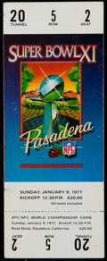 Football Collectibles:Tickets, 1977 Super Bowl XI Full Ticket....