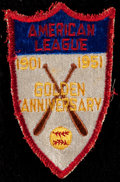 Baseball Collectibles:Others, 1951 American League Golden Anniversary Patch. ...
