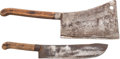 "Edged Weapons:Knives, Pair of Butchering Tools Marked ""L F & C,""... (Total: 2 )"