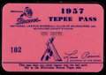 Baseball Collectibles:Tickets, 1957 Milwaukee Braves Season Pass....