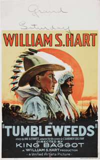 """Tumbleweeds (United Artists, 1925). Window Card (14"""" X 22""""). After a long absence from the movies, silent West..."""