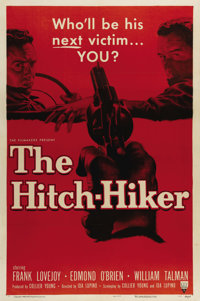 """The Hitch-Hiker (RKO, 1953). One Sheet (27"""" X 41""""). An appropriate blood-red tint covers the graphics for this..."""