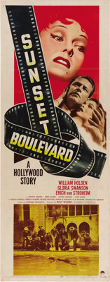 "Sunset Boulevard (Paramount, 1950). Insert (14"" X 36""). Gloria Swanson took the ultimate gamble, and to some d..."