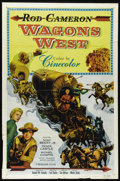 "Movie Posters:Western, Wagons West (Monogram, 1952). One Sheet (27"" X 41""). Rod Cameron stars in this Western about a wagonmaster who leads a party..."