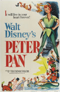 "Movie Posters:Animated, Peter Pan (RKO, 1953). One Sheet (27"" X 41""). Walt Disney's animated tale of the boy who wouldn't grow up is one of his most..."