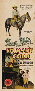"Movie Posters:Western, No Man's Gold (Fox, 1926). Insert (14"" X 36""). Tom Mix sits astride his championship horse, Tony on this exciting western in..."