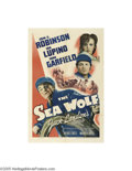 "Movie Posters:Adventure, The Sea Wolf (Warner Brothers, 1941). One Sheet (27"" X 41""). Based on Jack London's novel and directed by Michael Curtiz, th..."