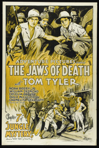 "Jungle Mystery (Universal, 1932). One Sheet (27"" X 41""). ""Jaws of Death,"" Chapter Seven in the popul..."