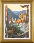 Fine Art:Paintings, WILLIAM REUSSWIG (American 1902-1978) Ambush Original Illustration,c.1960 Casein on board 23.5in. x 17.5in. Signed ...