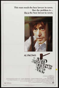 """...And Justice for All (Columbia, 1979). One Sheet (27"""" X 41""""). Norman Jewison's scathing look at the justice..."""