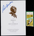 Basketball Collectibles:Programs, 1985 Tribute to Red Auerbach Signed Program and Ticket Stub....