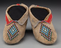 American Indian Art:Beadwork and Quillwork, A Pair of Kickapoo Beaded Hide Moccasins... (Total: 2 )