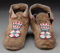 American Indian Art:Beadwork and Quillwork, A Pair of Crow Beaded Hide Moccasins... (Total: 2 )