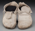 American Indian Art:Beadwork and Quillwork, A Pair of Taos Painted Hide Moccasins... (Total: 2 )