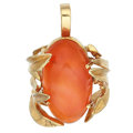 Estate Jewelry:Pendants and Lockets, Fire Opal, Gold Pendant. ...