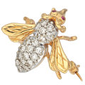 Estate Jewelry:Brooches - Pins, Diamond, Gold Bee Brooch. ...