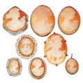 Estate Jewelry:Cameos, Shell Cameo, Gold Lot. ...