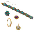 Estate Jewelry:Lots, Turquoise, Diamond, Enamel, Gold, Gold-Filled, Silver Jewelry. ...